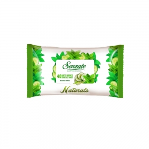 SENZATE WET WIPES NATURALS CUCUMBER AND MINT